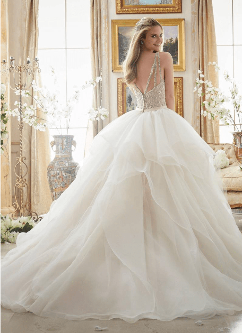 BEADED BODICE WITH RUFFLES SKIRT ball gown