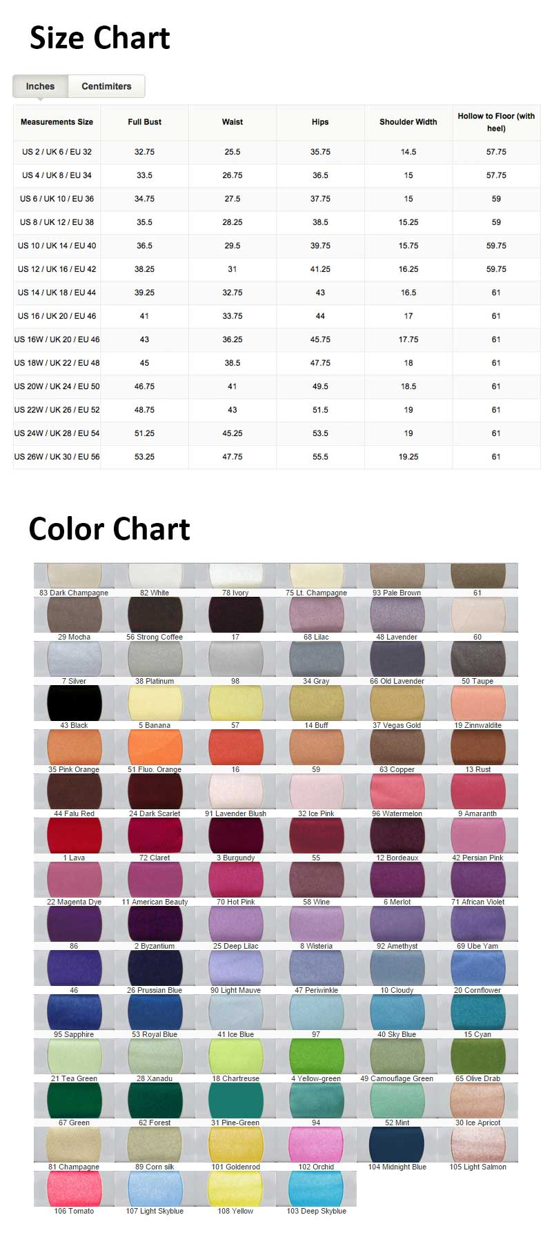 Size & Color Chart